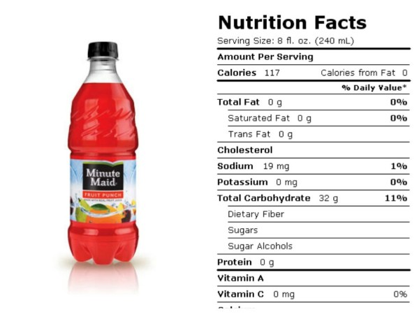 minute maid nutrition facts